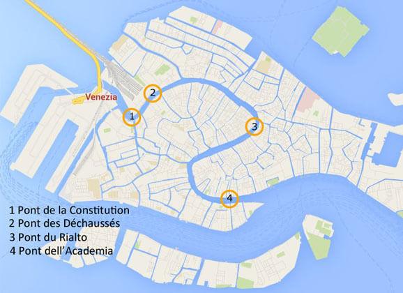 Nous vous proposons une carte permettant de reperer les 4 ponts traversant le grand caNous vous proposons une carte permettant de repérer les 4 ponts traversant le grand canal à Venisenal à Venise