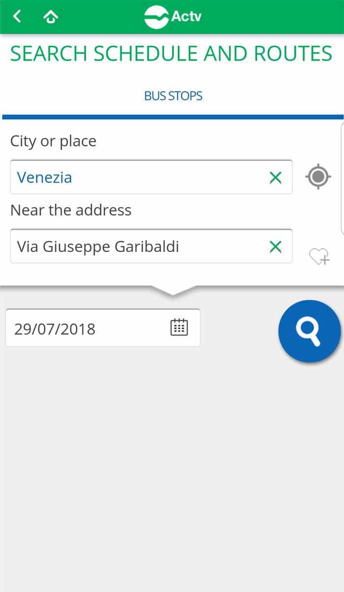 Copie écran recherche arrêt de vaporetto à Venise