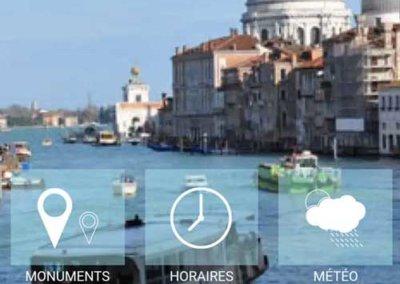 L'écran d'accueil de l'application Venise app tour