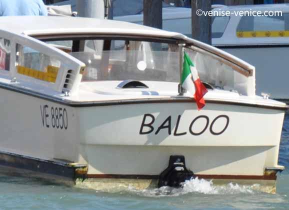 Gros plan sur l'arrière d'un taxi nommé Baloo à Venise