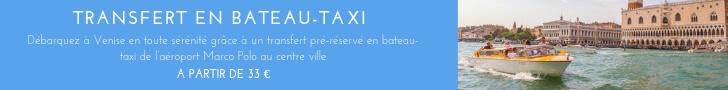 Un bateau taxi emmène les voyageurs de l'aéroport de venise au centre ville